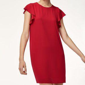 Aritzia Babaton Red Burt Ruffle Sleeve Dress